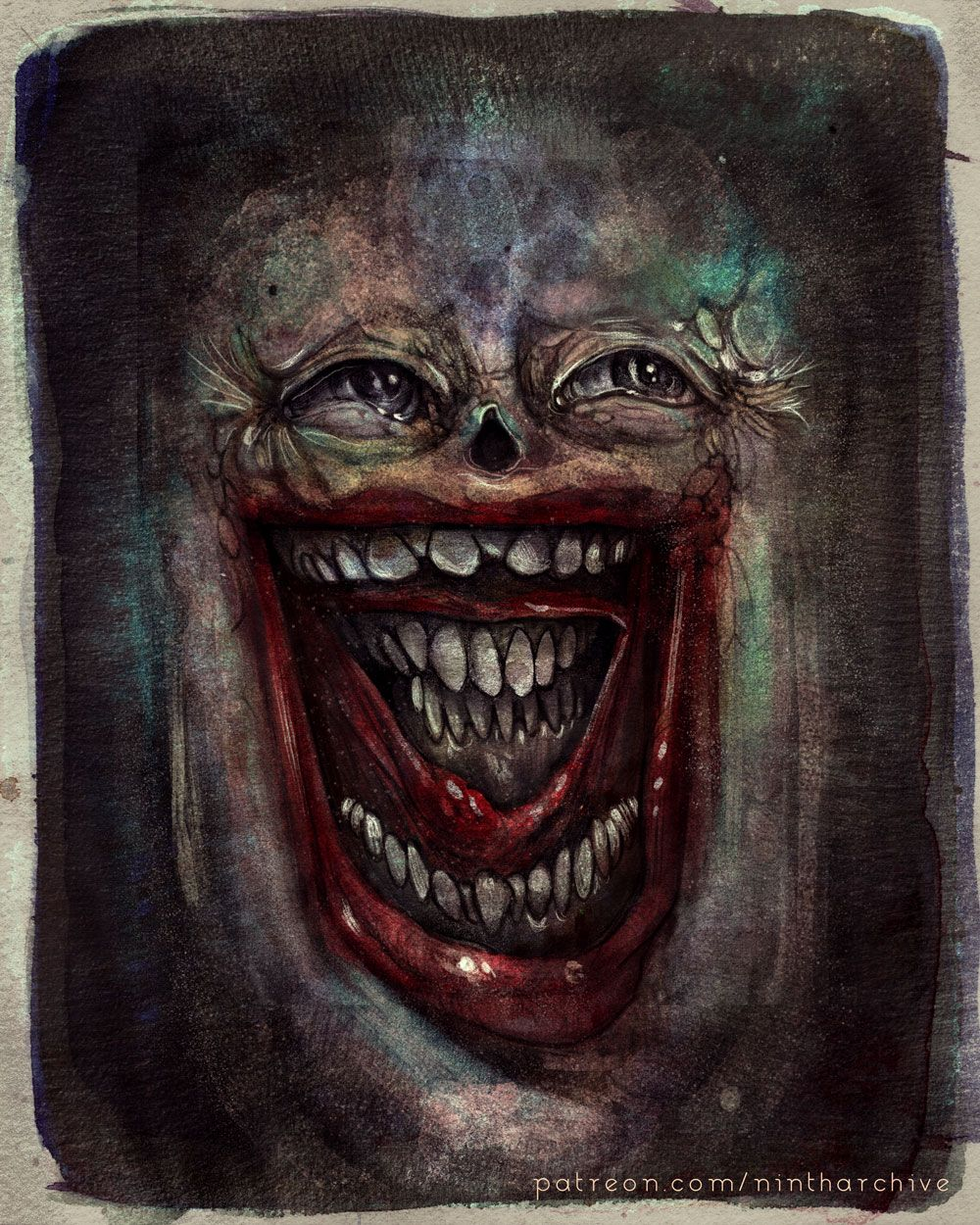 A close-up, dingy face with a mouth inside of its mouth, one laughing, one with teeth clenched.