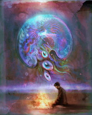 A man sitting staring into bonfire with a ghostly jellyfish floating above him.