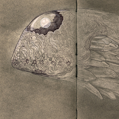 A sketch of a many-eyed whale with an orb embedded in its head and a tale made of jutting protrusions of crystal.